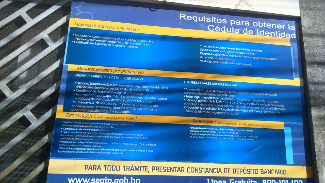 Información brindada en SEGIP La Paz