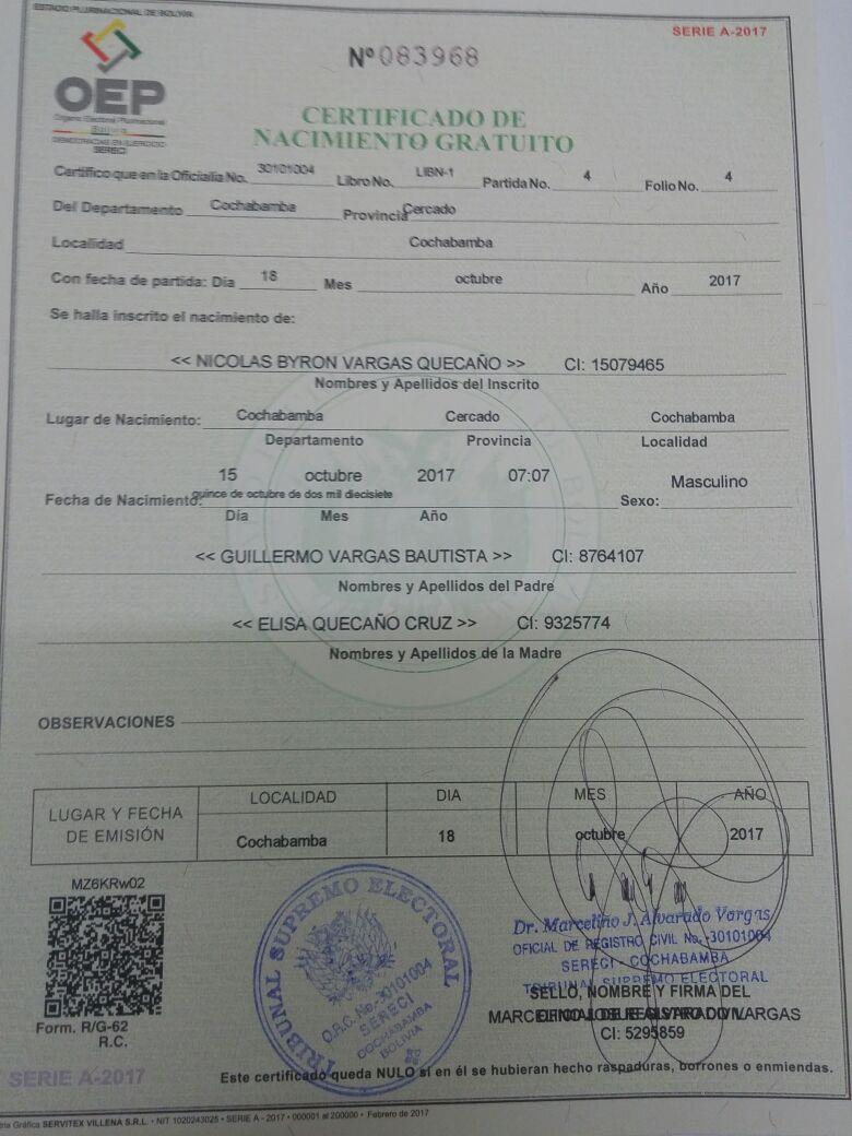 Se emiten los primeros Certificados de Nacido Vivo: el primer ...
